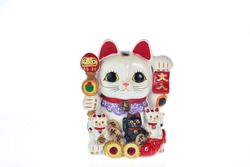 Japan lucky cat souvenir isolated on white