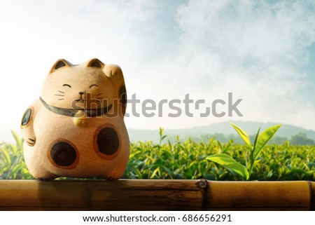 Japan Maneki Neko or beckoning cat, mascot of lucky and money, Present over bamboo fence and Green tea plantation as background