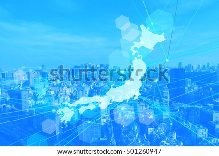 japan map business background-blue
