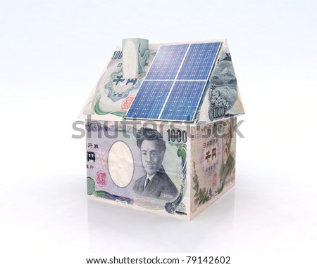 japan money home with solar panel concept financing