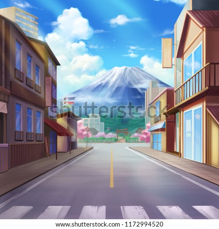 Stock Photo Japan, Mount Fuji, Realistic Country City Area Painting Series. Video Game's Digital CG Artwork, Concept Illustration, Realistic Cartoon Style Scene Design