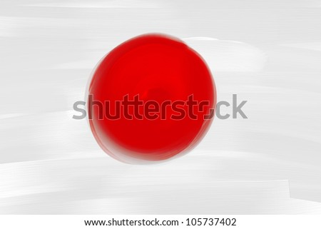 Japan national hand painted flag