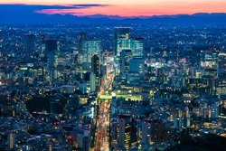 Japan. Panorama of the Japanese city at dusk. View of Tokyo from a height. City on the background of silhouettes of mountains. Cities of Japan. Urban infrastructure. Evening in the big city.