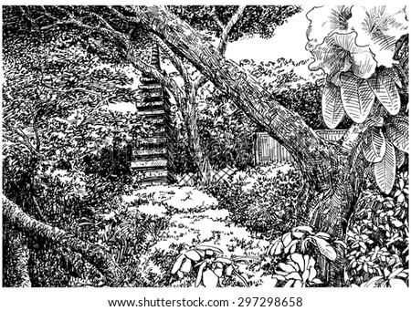 Japan park garden with trees and bloom. Black and white dashed style sketch, line art, drawing with pen and ink. Retro vintage picture / etching / engraving on paper.