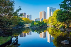 Japan. Residential buildings and offices in the Japanese city. Houses on the background of a picturesque Park with a pond. Japanese pines on an island in the city pond. life in Japan.