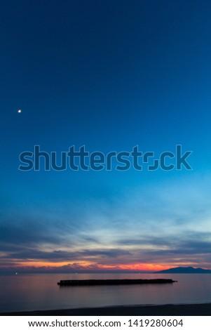 japan sea Evening sun in tohoku akita  #1419280604