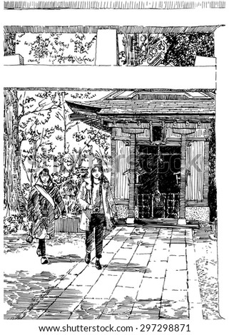 Japan small wooden temple in the forest. Two girls. Black and white dashed style sketch, line art, drawing with pen and ink. Retro vintage picture / etching / engraving on paper.
