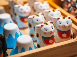 Japan Souvenir Maneki neko Lucky cat and fuji mountain shop Craft product ceramic dolls