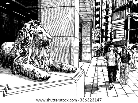 Japan street with girls and lion statue. Black and white dashed style sketch, line art, drawing with pen and ink. Retro vintage picture.
