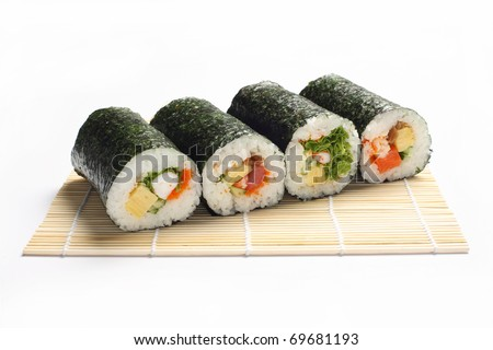 Japan sushi rolls isolated on white background - stock photo