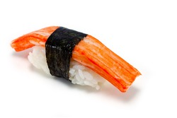 japan sushi surimi artificial crab isolated background