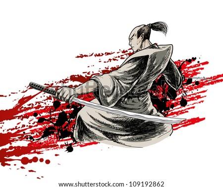 Stock Photo japan vector warrior on grunge background