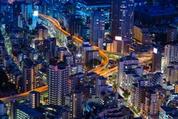 Japan. View of Tokyo from a height. Evening in the Japanese capital. Tokyo highway, residential buildings and business centers. Evening in the big city. Cities of Japan.
