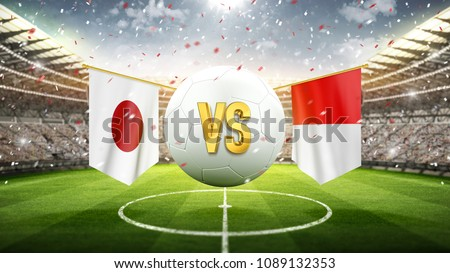 Japan vs Poland. Soccer concept. White soccer ball with the flag in the stadium, 2018. 3d render