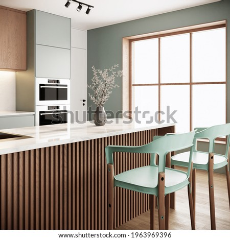 Japandi modern scandinavian kitchen and dining room interior design and decoration with green pastel chairs, wooden kitchen couter, dried flower in vase on the marble counter top and sunlight window. Photo stock ©