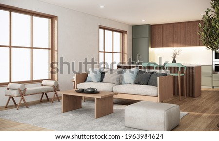 Japandi modern scandinavian studio apartment design and decoration with wooden sofa, table, couter kitchen, cabinet, stool, indoor plant in pot and sunlight from window, 3d rendering living room Photo stock ©