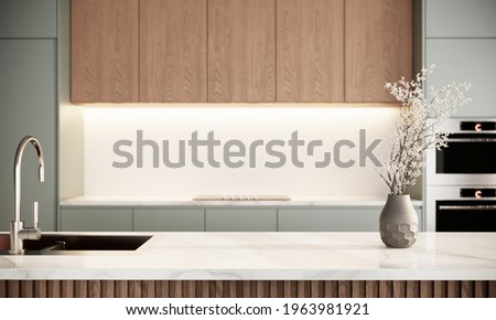 japandi modern scandinavian style apartment interior, kitchen design, decoration with green pastel counter and wooden cabinet, marble counter top. 3d rendering close up kitchen counter interior.