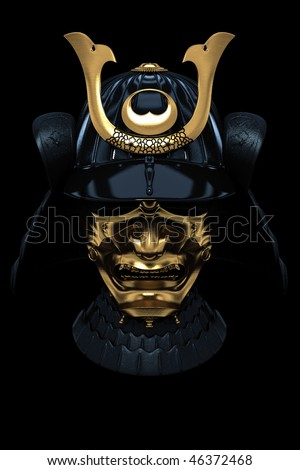Japanese Armour Mask isolated on black background (CG render)