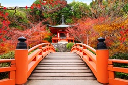 Japanese autumn fall. Kyoto Daigoji temple. Famous temple with autumn color leaves and cherry blossom in spring in Kyoto