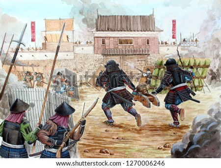 Japanese battle illustration. Samurai illustration.