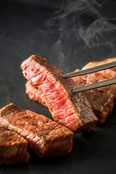 Japanese beef steak on grill plate
