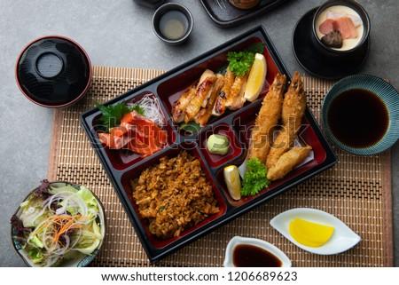japanese bento set with dark background
