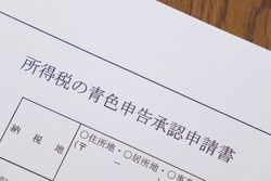 Japanese blue tax return application. Translation: application for approval of blue tax return for income tax purposes, place of tax payment, address, residence and business address.