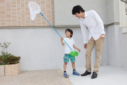 Japanese boy and father with a moth network