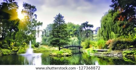 Japanese bridge in botanical garden - stock photo