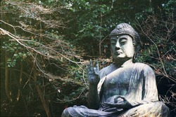 Japanese buddha statue, Seated Buddha statue at temple in Japan.