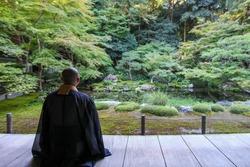 Japanese Buddhist Monk back view