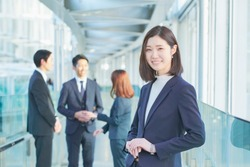 japanese business woman is standing
