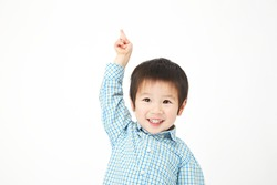 Japanese child pointing up