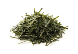 Japanese chopped seaweed on a white background