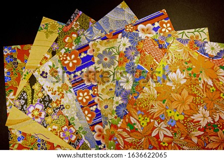 Japanese Colorful Origami Papers Closeup Stok fotoğraf ©