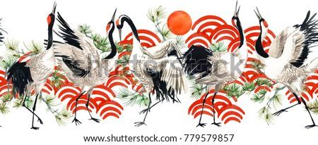 Japanese crane bird seamless pattern. watercolor illustration.