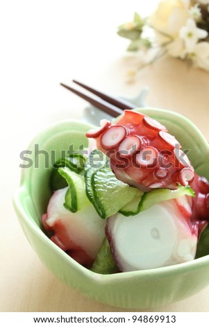 Japanese cuisine, boiled octopus and cucumber preserved in vinegar