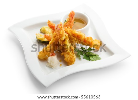 Japanese Cuisine - Deep Fried Shrimps with Vegetables