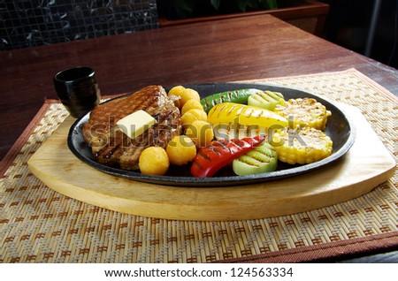 Japanese cuisine .Japanese pork Steak