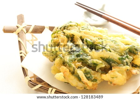 japanese cuisine, nanohana deep fried Vegetable tempura