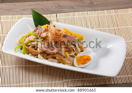 Japanese cuisine .noodles with meat and eggplant