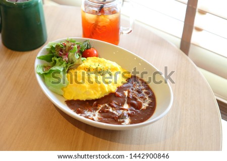 Japanese Cuisine Omuhayashi. It's a combination of Hashed beef rice called 'Hayashi rice' and  omelet with a filling of ketchup‐ seasoned fried rice called 'Omurice'. #1442900846