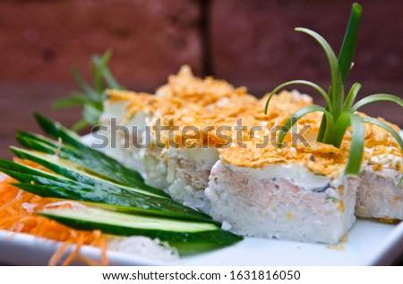 Japanese cuisine, oriental cuisine with sea fish