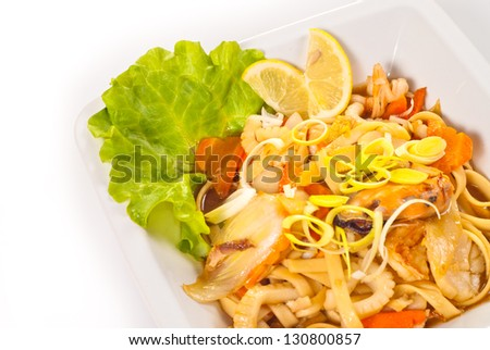 Japanese Cuisine - Pasta with vegetables and seafood