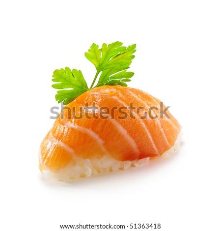 Japanese Cuisine -  Salmon (sake) Nigiri Sushi served with Parsley