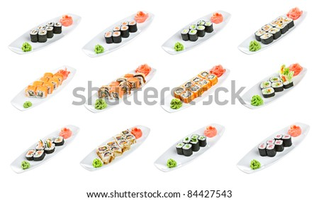 Japanese Cuisine - Sushi (Roll Assorted) on a white background