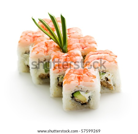 Japanese Cuisine - Sushi Roll with Avocado, Cream Cheese and Smoked Eel inside. Topped with Shrimp