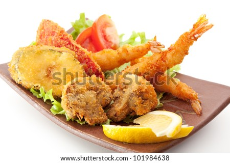 Japanese Cuisine - Tempura Food: Deep Fried Shrimps, Vegetables and Mushrooms