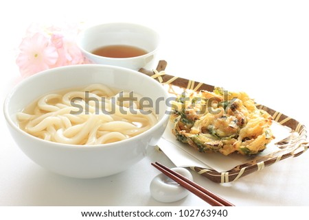 Japanese cuisine, Udon noodle with vegetable tempura