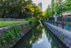 Japanese Cultural Heritage Gardens in Tokyo- Hamarikyu Gardens.These were the family garden of Tokugawa Shogun .The pond is tidal pond and connected to Tokyo Bay.Water level is controlled by lock gate